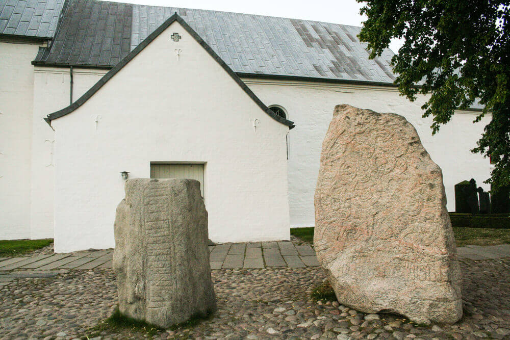 the church of Jelling and its runic stones in Jutland, , Denmark. viking tour
