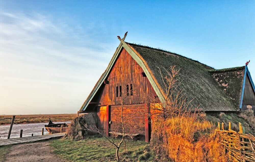 Traditional old Viking Age house hut in Bork village, Denmark. viking tour
