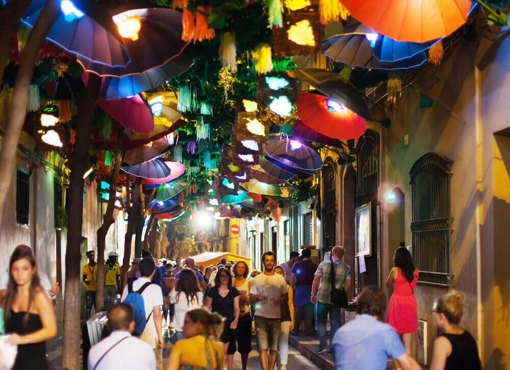 Decorated streets of Gracia district, Barcelona, Spain