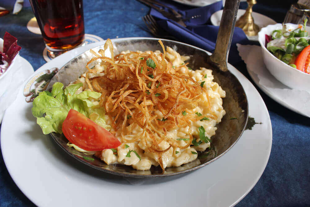 Cheese Spaetzle, traditional german food - vegetarian holiday