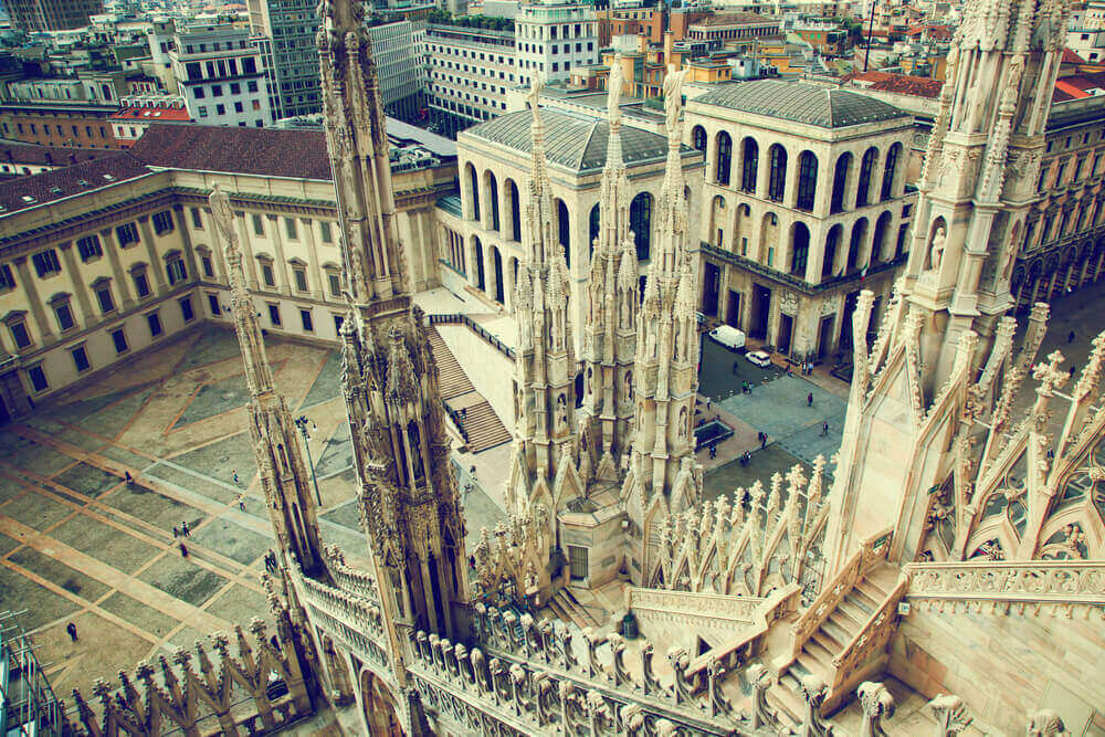 Milan, Italy architecture. View from Milan Cathedral on Royal Palace of Milan - Palazzo Realle. Italy in September