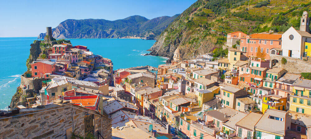 Panoramic view of beautiful Vernazza village, Cinque Terre, Liguria, Italy. Italy in September