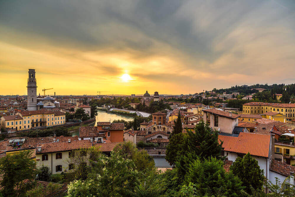 Panoramic view of Verona at sunset in Italy. Italy in September